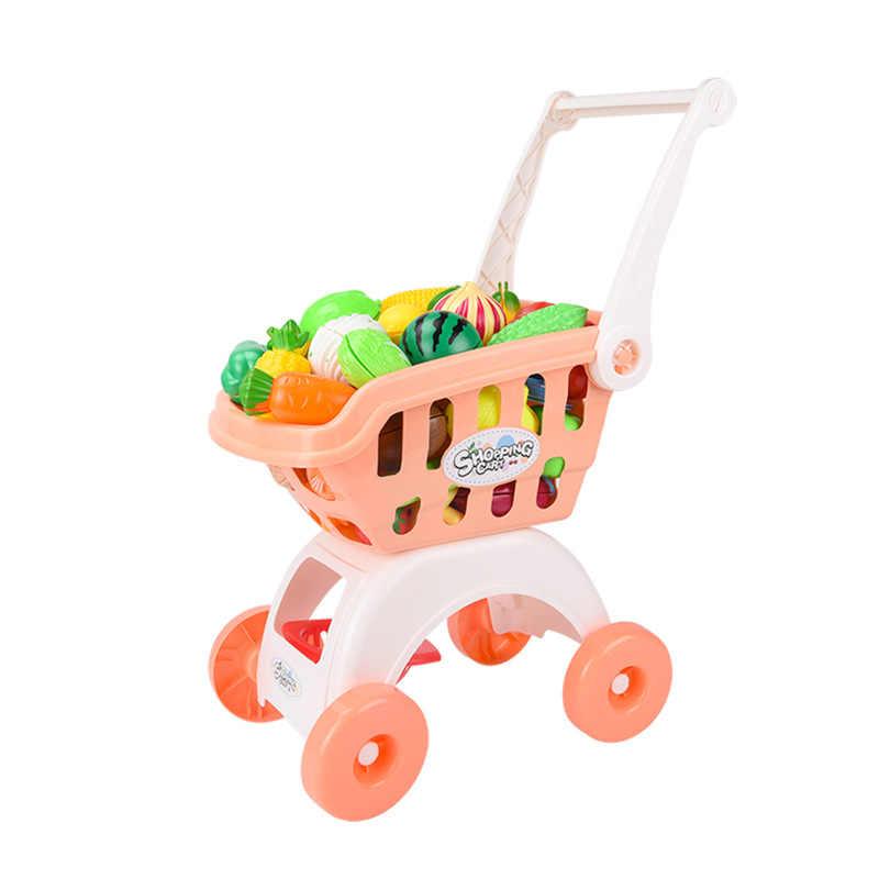 Kinder Pretend Spielen Warenkorb Supermarkt Lebensmittel Warenkorb Trolley Spielzeug Küche Simulation Schneiden Von Obst Kuchen Spielzeug