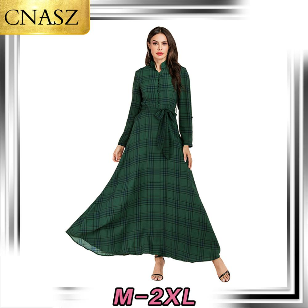 Elegant Islamic Turkey Indonesia Muslim Long-Sleeved Chiffon Large Swing Dress Dubai Muslim Dress Maxi Skirt Abayas For Women image