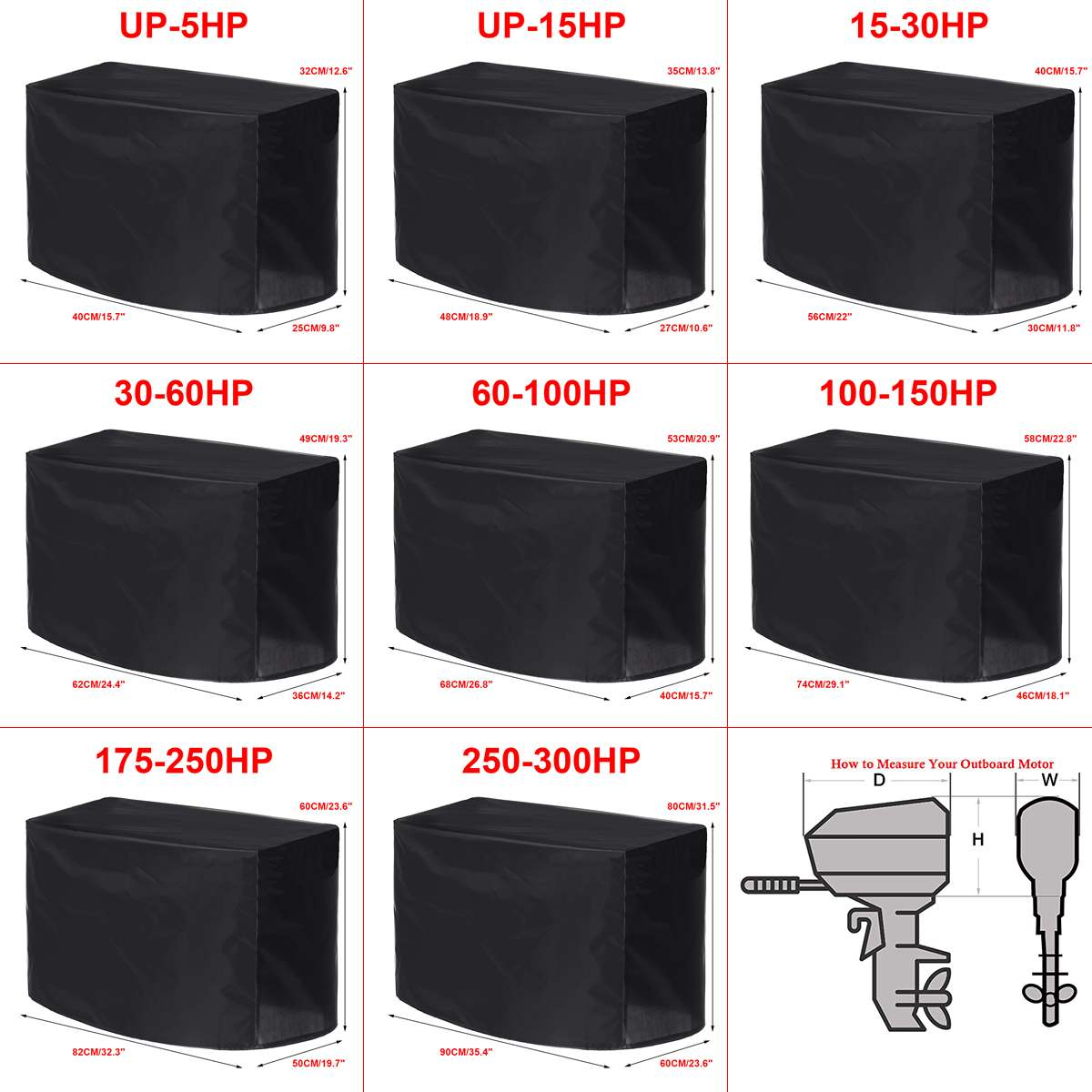 Waterproof Universals Boat 5 15 30 60 100 150 250 300PH Motor Cover Outboard Engine Protector Covers