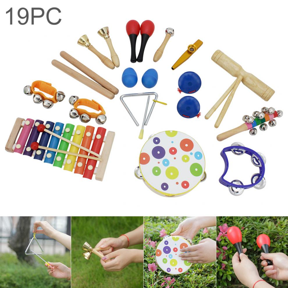 19pcs /lot Orff Percussion Musical Instruments Set Hand Drum Wrist Bells Mixed Kit for Children Baby Early Education