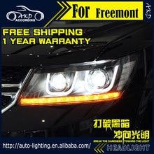 AKD تصفيف السيارة مجموعة مصابيح أمامية لشركة فيات فريمونت المصابيح الأمامية ثنائية زينون LED المصباح JCUV LED DRL HID الجبهة ملحقات المصابيح