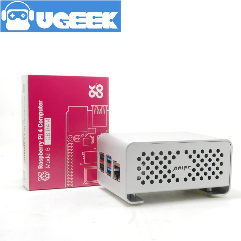 Aoide UGEEK DAC II Hifi Sound Card+Raspberry Pi 4 Model B (1GB RAM)+Aluminium Case Kit|ES9018K2M|384 KHz/32-bit|DSD Format&IR|