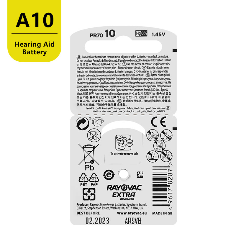 60 PCS RAYOVAC EXTRA Zinc Air Performance Hearing Aid Batteries A10 10A 10 PR70 Hearing Aid Battery A10 Free Shipping 6