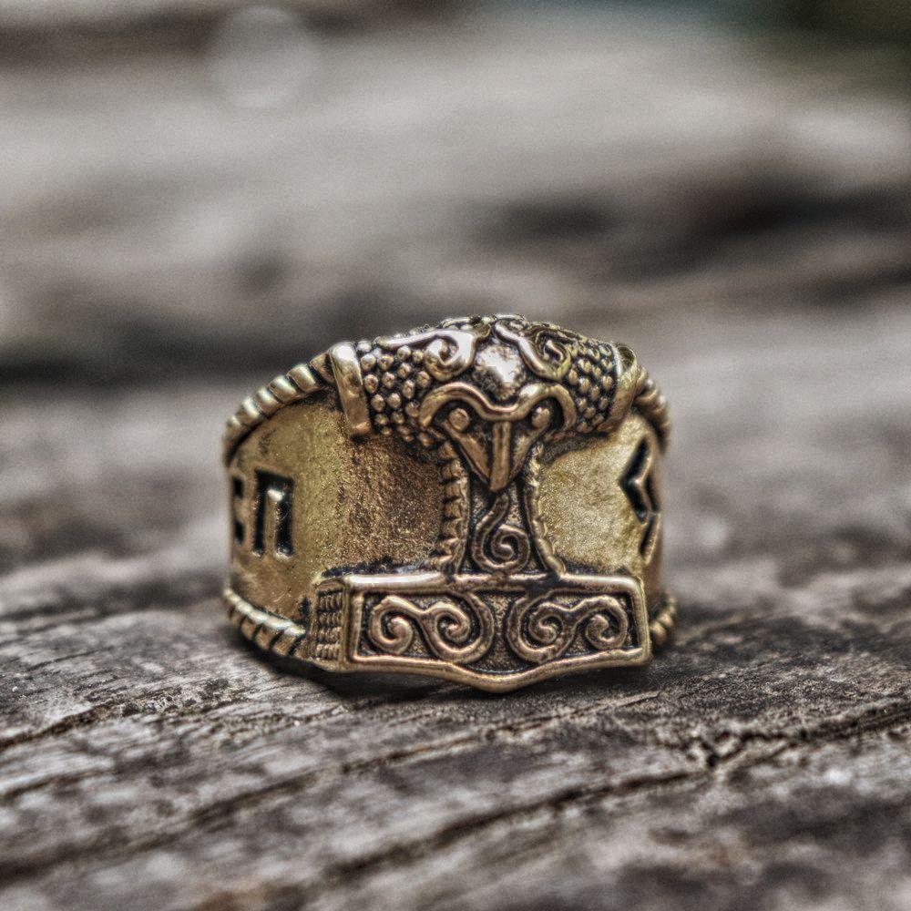 Thor Hammer Gold  Ring