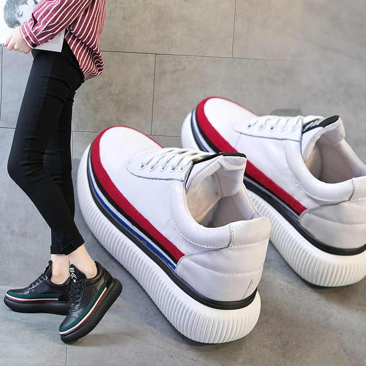 2020 del cuoio genuino tallone spesso della piattaforma delle donne scarpe casual scarpe da ginnastica lace-up scarpe da ginnastica bianche