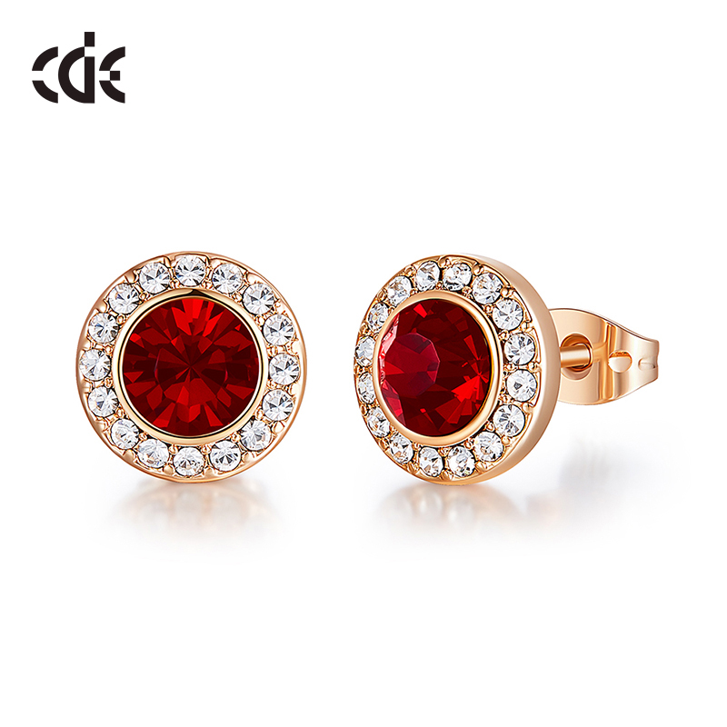 CDE Fashionable Luxury Red Color Crystal from Swarovski Round Shape Stud Earrings Women Ear Beautiful Jewelry Gifts(China)