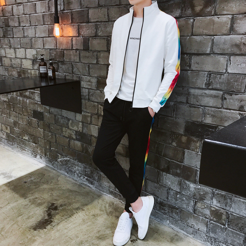 Long-sleeve Sweater Set Men's Korean-style INS Popular Brand Handsome Color On Clothes Teenager Students Sports Two-Piece Set
