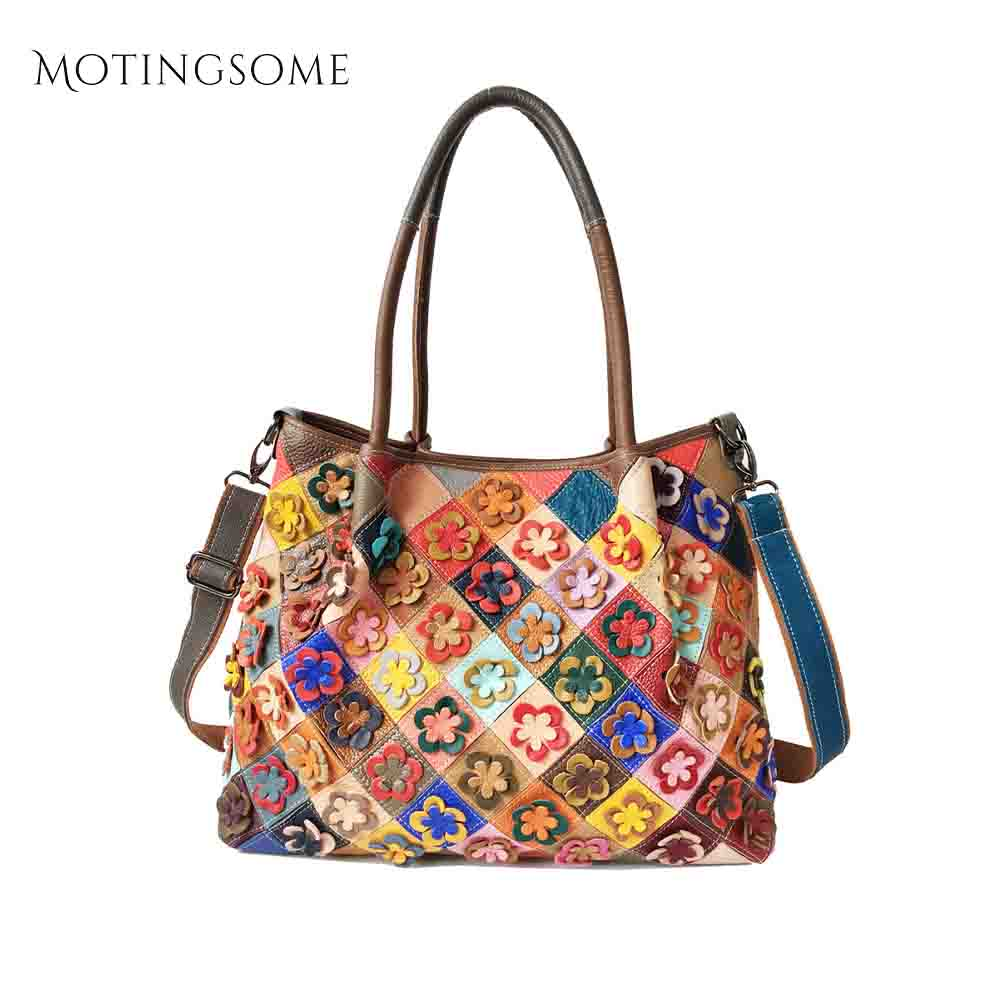 Сумка тоут из натуральной кожи, женская сумка из коровьей кожи с цветами, цветная сумка в стиле пэтчворк, роскошные сумки, сумка шоппер, 2020, новинка Сумки с ручками      АлиЭкспресс