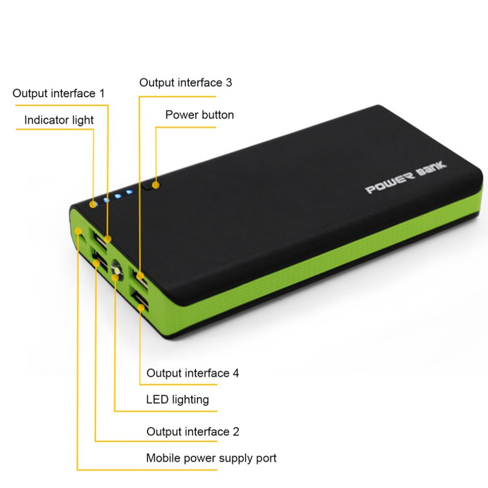 Power Bank Shell With LED Flashlight 4 USB Ports 5V 2A Power Bank Case DIY Kits Powered By 6x18650 Batteries(not Include)