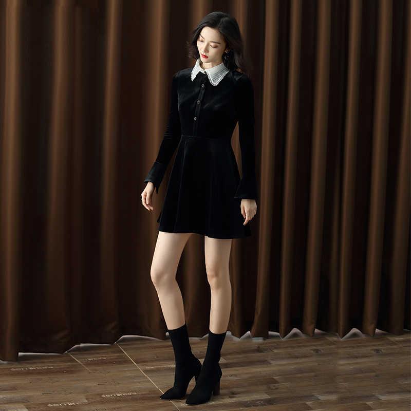אביב 2020 תחרה אלגנטית שמלת נשים קוריאני מסיבת זהב קטיפה בציר שמלה ארוך שרוול נשים של שמלות חורף Vestido KJ1742