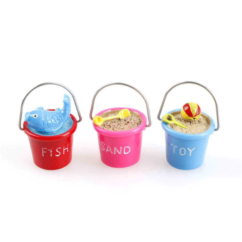 Resina miniatura playa cubo DIY artesanía accesorio hogar jardín decoración Artificial accesorios decoración interior manualidades