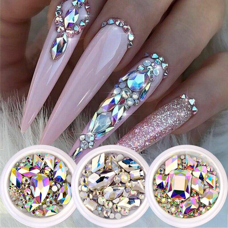 1 Box Glitter 3D Strass AB Flache Rückseite Glänzende Steine Nail art Dekorationen Gemischt Größe Nagel Edelsteine Kristall Strass Zubehör