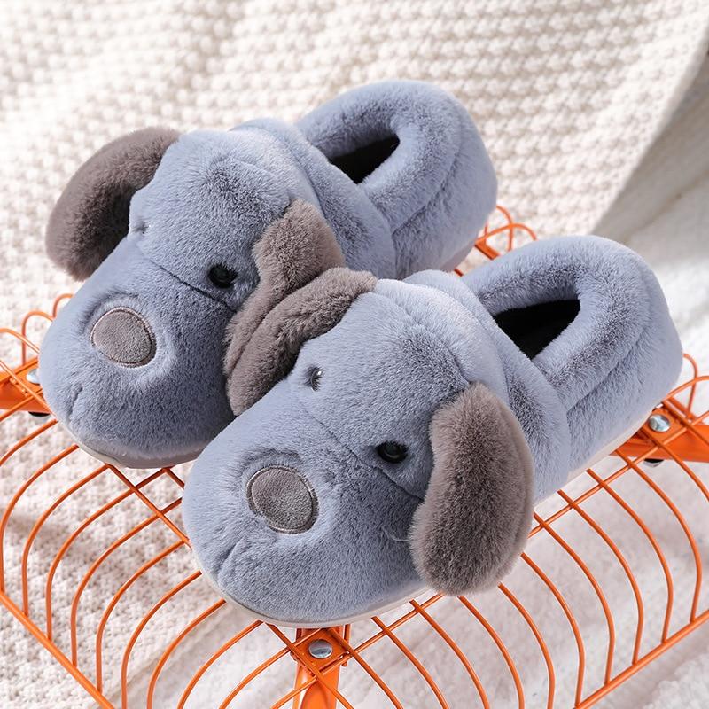 WEH Men Slippers Flips Flops Winter Warm Cute Dog Shoe Man Fashion Platform Sandals Slides Non-slip Flats Indoor Comfortable