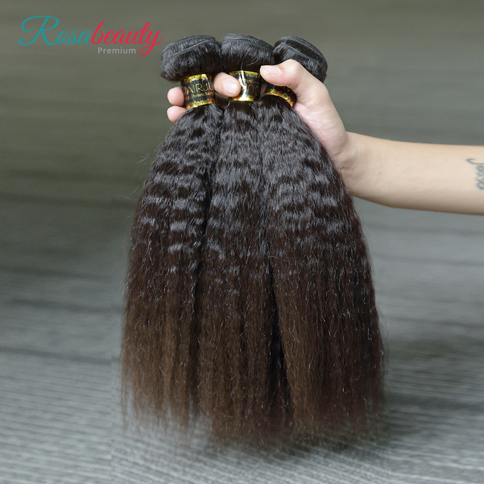 RosaBeauty-extensiones de cabello humano virgen peruano, 10A, 10-28 pulgadas, cabello liso rizado, 1/3/4 Uds., 100%, extensión de cabello humano de Color Natural
