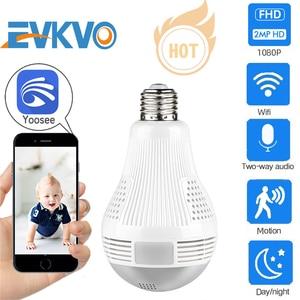 EVKVO 1080P 360 Bulb Camera Security Wifi IP Camera Lamp CCTV Video Surveillance Fisheye IR Full HD Night Vision Two Way Audio