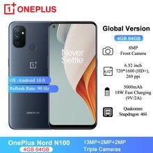 Versão global oneplus nord n100 telefones celulares 6.52 snapsnapsnapdragon 460 13mp triplo cams 18w carregamento rápido 64gb 4gb ram smartphone