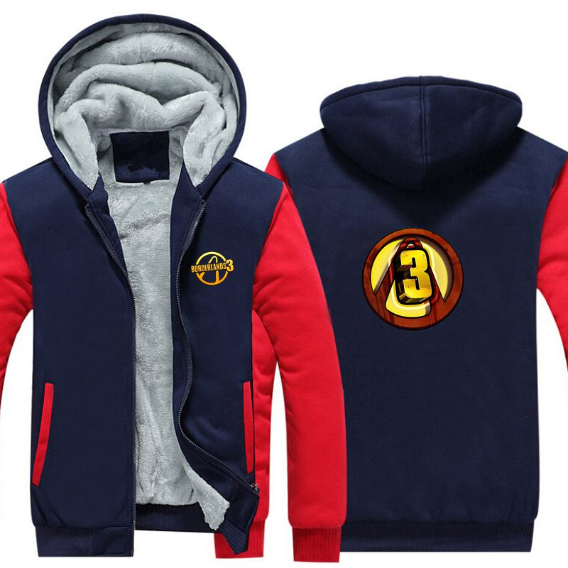 New PS Game Borderlands 3 Thicken Hoodie Sweatshirts Cosplay Costume Anime Winter Warm Coat Hooded Men Adult Clothing