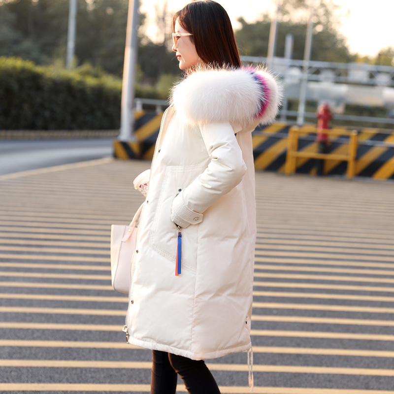 Thick Warm Winter Down Coat Female Large Raccoon Fur Hooded Clothes 2020 Korean Long Duck Down Jacket Ladies Hiver 52982