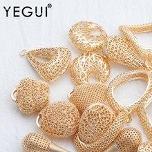 Yegui m831, acessórios de jóias, 18k banhado a ouro, 0.3 mícrons, pingente diy, feito à mão, encantos, brincos diy, fazer jóias, 6 pçs/lote