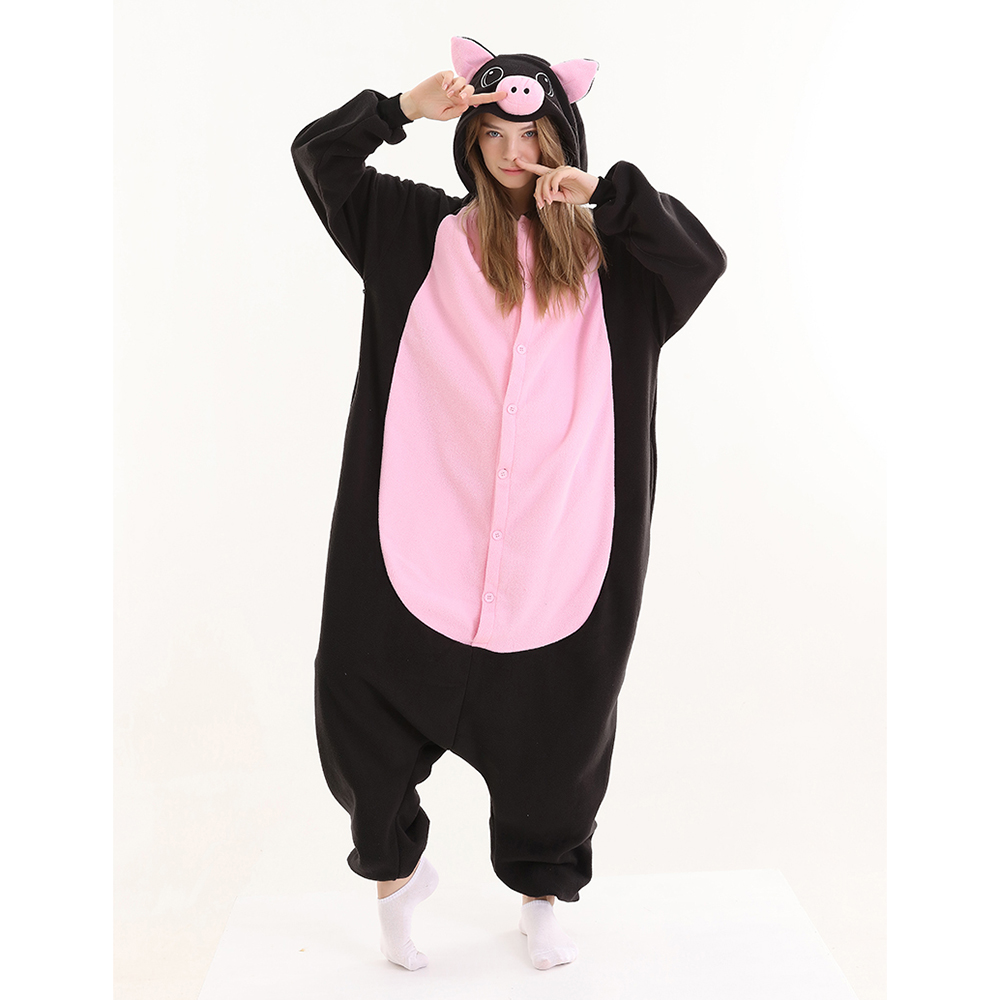 New Animal Cosplay Costume Black Pig Kigurumi Onesies For Adult Man Women Winter Warm Fleece Festival Party Loose Pajamas
