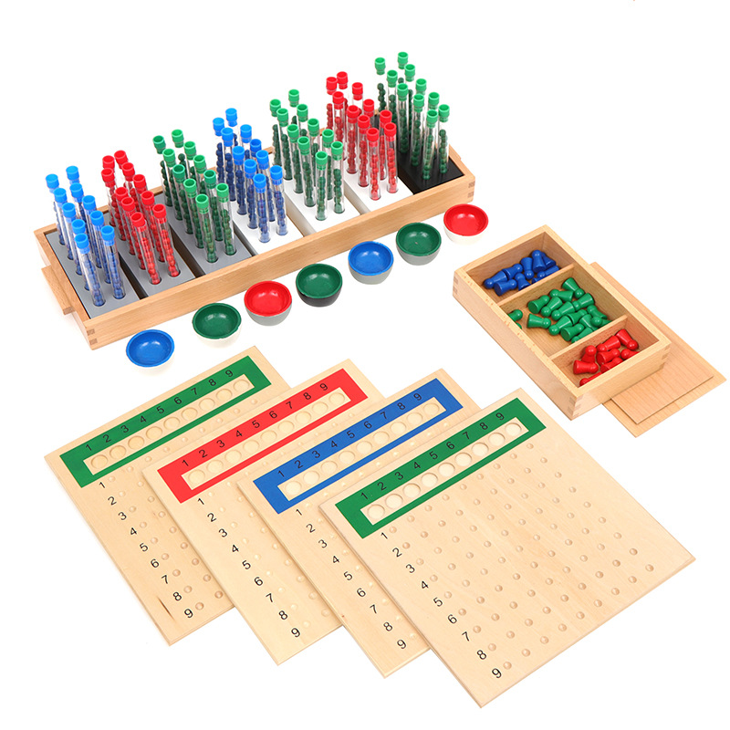 Montessori Test Tube Division  Wooden Abacus  Montessori Toys  Toddler Educational Toys