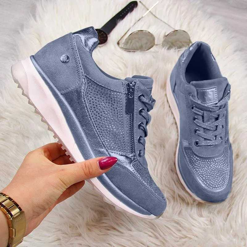 DIHOPE Woman Sneakers Gold Zipper Platform Trainers Women Shoes Casual Lace-Up Tenis Feminino Zapatos De Mujer Sneakers