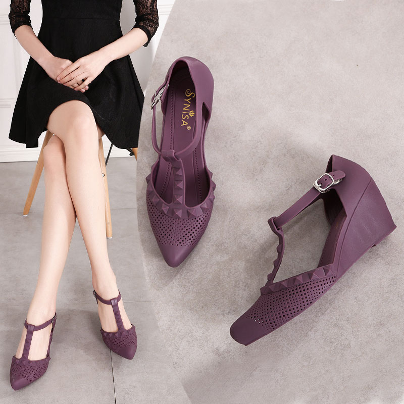 SLHJC Women Jelly Pumps 6 CM Wedges Heel Pointy Toe T Buckle 6 cm High Heel Pumps Sandals Slip Resistance Casual Daily Shoes
