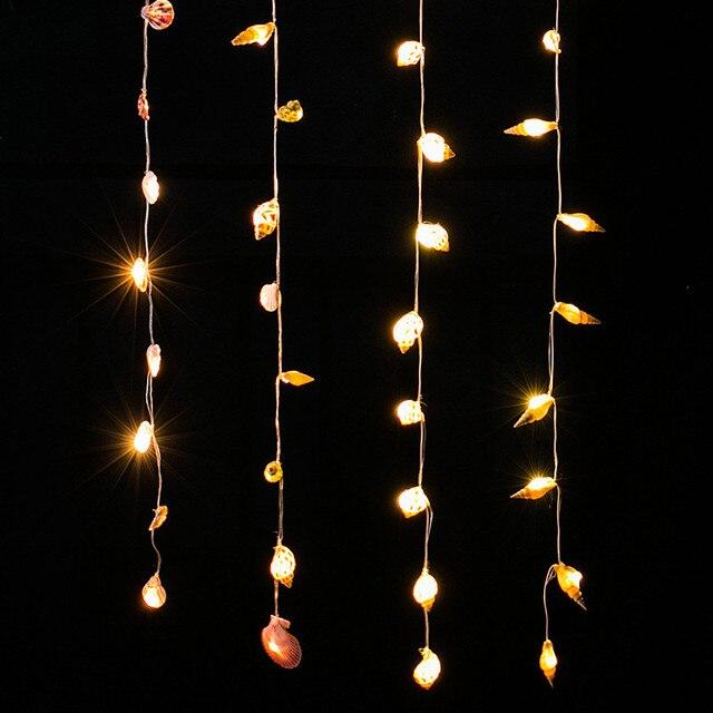 2 metros 10pc contas de luz estilo mediterrâneo led luzes da corda concha natural casa parede tapeçarias pingentes decorativos marinhos
