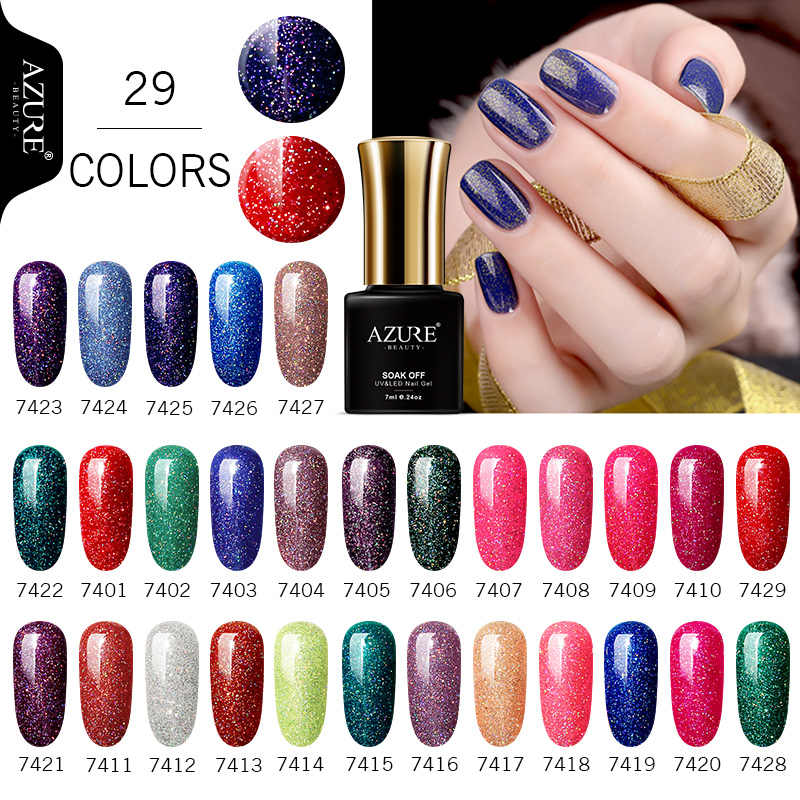 Azure Beauty 1Pcs 7 Ml Cat Kuku Rendam Off Neon Gel Varnish Hybrid Enamel Manicure Rainbow Biru kuku Gel Polandia