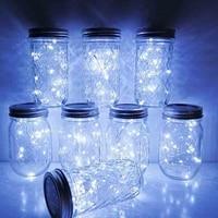 Słoik solarny z pokrywką  20 LED wodoodporne łańcuchy świetlne Fairy Star Firefly z 6 wieszakami (słoik nie wchodzi w skład zestawu)  do słój na przetwory G w Girlandy świetlne od Lampy i oświetlenie na