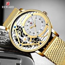 REWARD Mens Watches Top Brand Luxury Golden Stainless steel Quartz Clock Waterproof Watch Men Gold Wristwatches Horloges Mannen