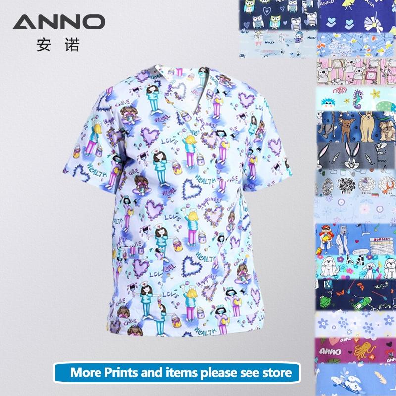 ANNO 14 Colors Print Medical Scrubs Women Men Hospital Clothing Tops In Cotton Nursing Work Beautu Salon Dental Uniforms Shirt