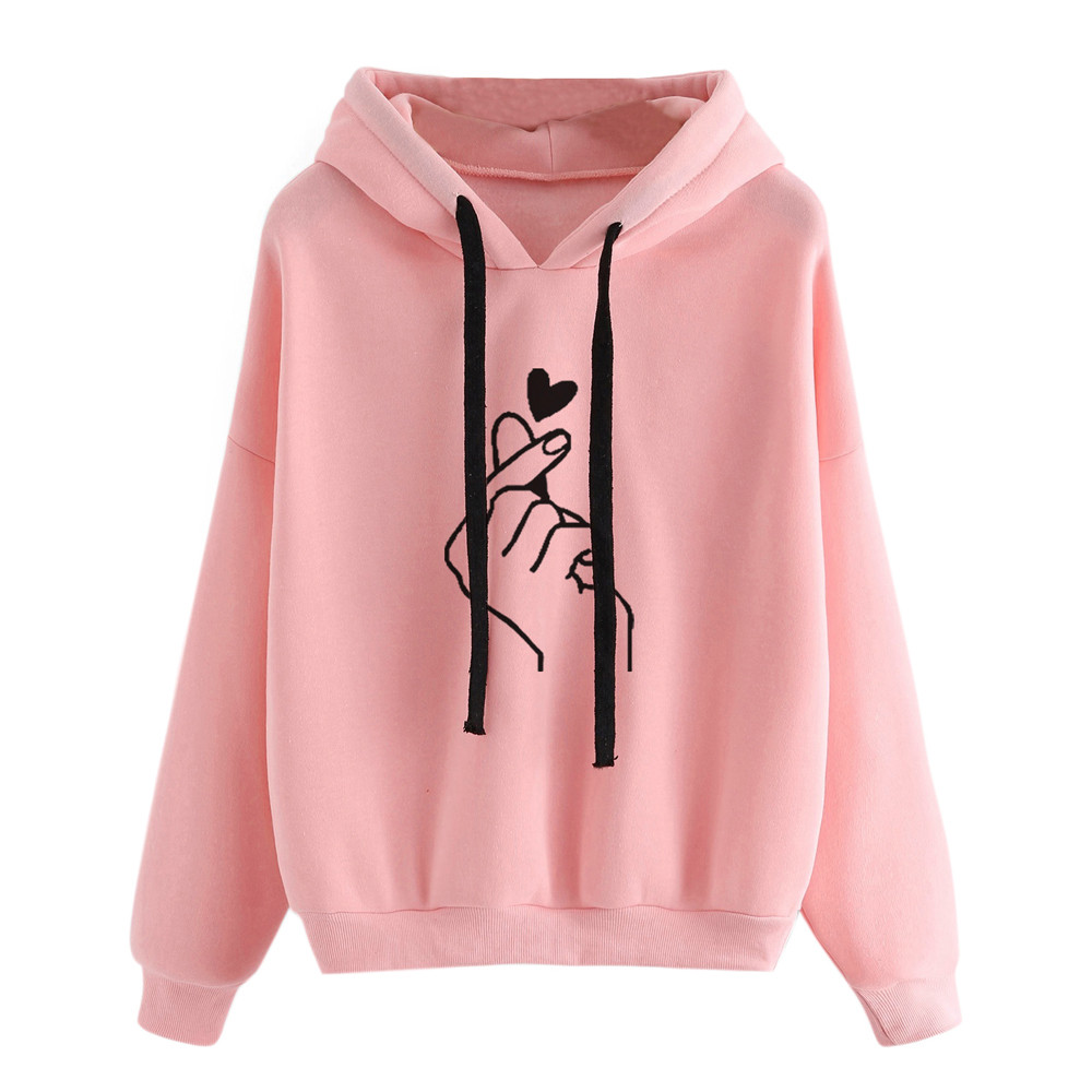 US $4.82 41% OFF|Harajuku Women's Sweatshirt Hoodies Ladies Oversize Korean Design Pink Love Heart Finger Casual Hoodies for Women Girls #W in Hoodies
