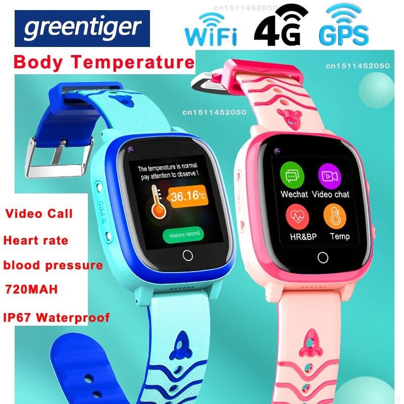 Greentiger T5S 4G kinder Smart GPS Wifi Position IP67 Wasserdicht SOS Video Anruf Körper Temperatur Monitor Kinder Smartwatch PK t3