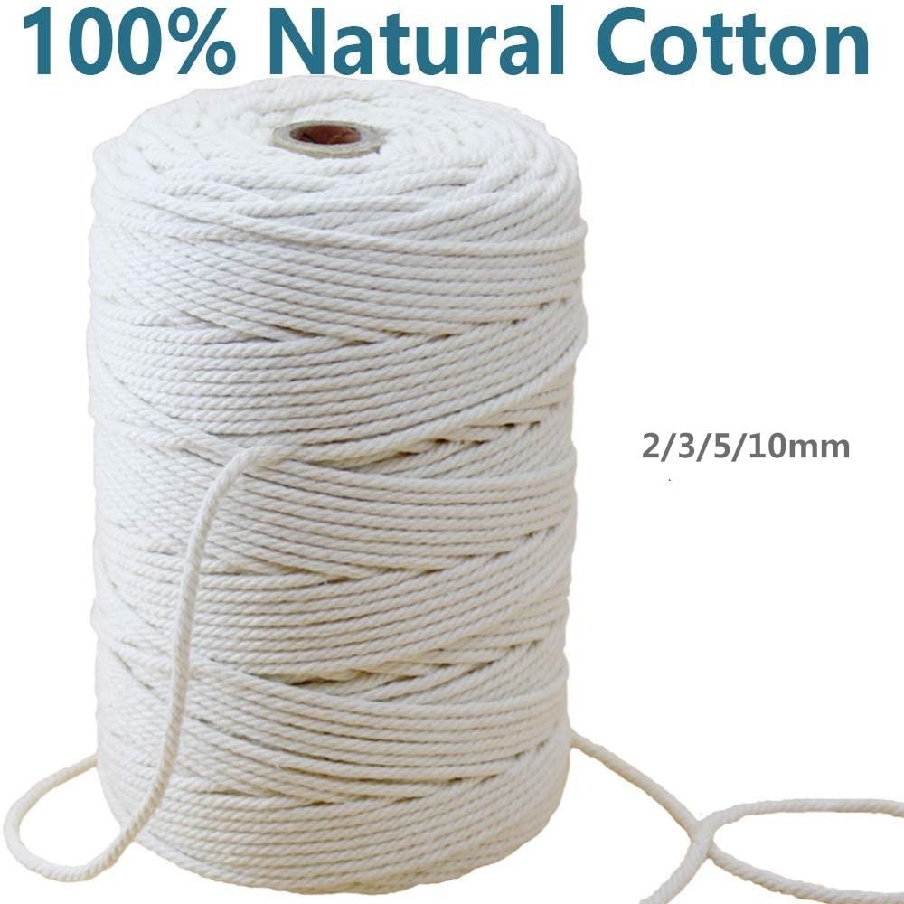 Natural Twisted Cotton Rope Handmade Decorations Natural Cotton Bohemia Macrame DIY Wall Hanging Plant Hanger Craft Making Knitting Cord Rope 10mm//50M