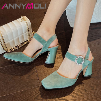 ANNYMOLI Crystal Kid Suede High Heel Shoes Square Toe Slingbacks Women Pumps Buckle Thick Heels Ladies Shoes Summer Green Black