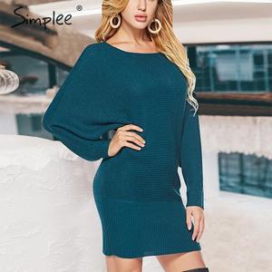 Image 4 - Simplee уличное трикотажное платье, сексуальное однотонное мини платье с круглым вырезом и рукавами «летучая мышь», повседневное шикарное осеннее платье пуловер