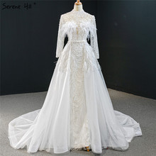 White High Collar Detachable Train Evening Dresses 2020 Long Sleeve Feathers Pearls Formal Dress Serene Hill HM67052