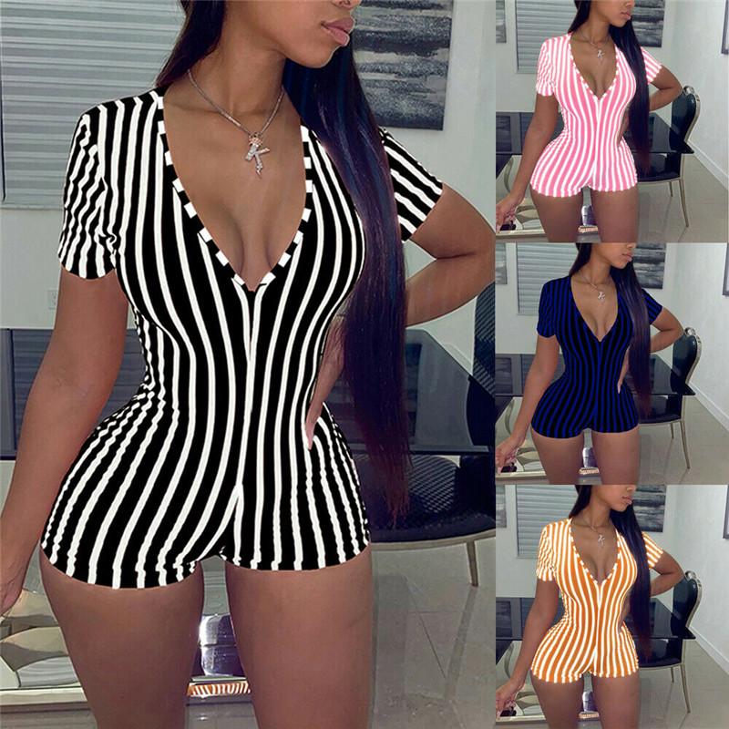 2020 Sexy Women Deep V neck Bodycon Jumpsuit Romper Sleepwear Short Sleeve Striped Summer Jumpsuit Short Romper Bodysuit Leotard