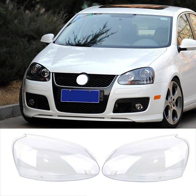 Far camı VW GOLF 5 için MK5 2005 2006 2007 2008 2009 araba ışıkları far kafa lambası kapağı yedek cam far camı
