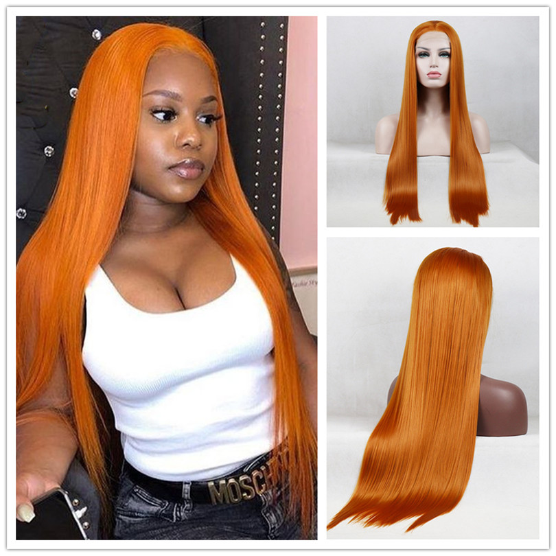 Ginger Orange Colored Long Straight Lace Front Wigs Natural Hairline Heat Resistant Fiber Synthetic Wig For Women With Baby Hair