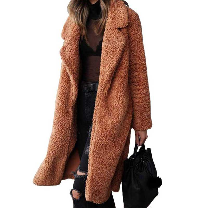 2020 Autumn Winter Faux Fur Coat Women Warm Teddy Bear Coat Ladies Fur Jacket Female Teddy Outwear Plush Overcoat Long Coat