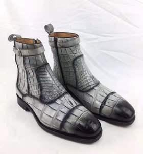 Super tamanho grande 100% real genuíno pele de crocodilo cinza preto cores botas homens inverno sapato com forro de pele de vaca real e base