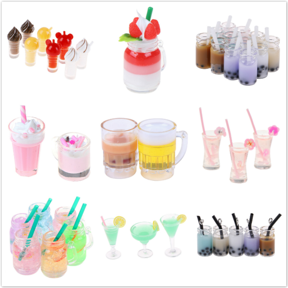 Mini Lemon Milk Fruit Tea Water Cup Strawberry Banana Milkshake Ice Cream Miniature Dollhouse Accessories Cups Kitchen Toys