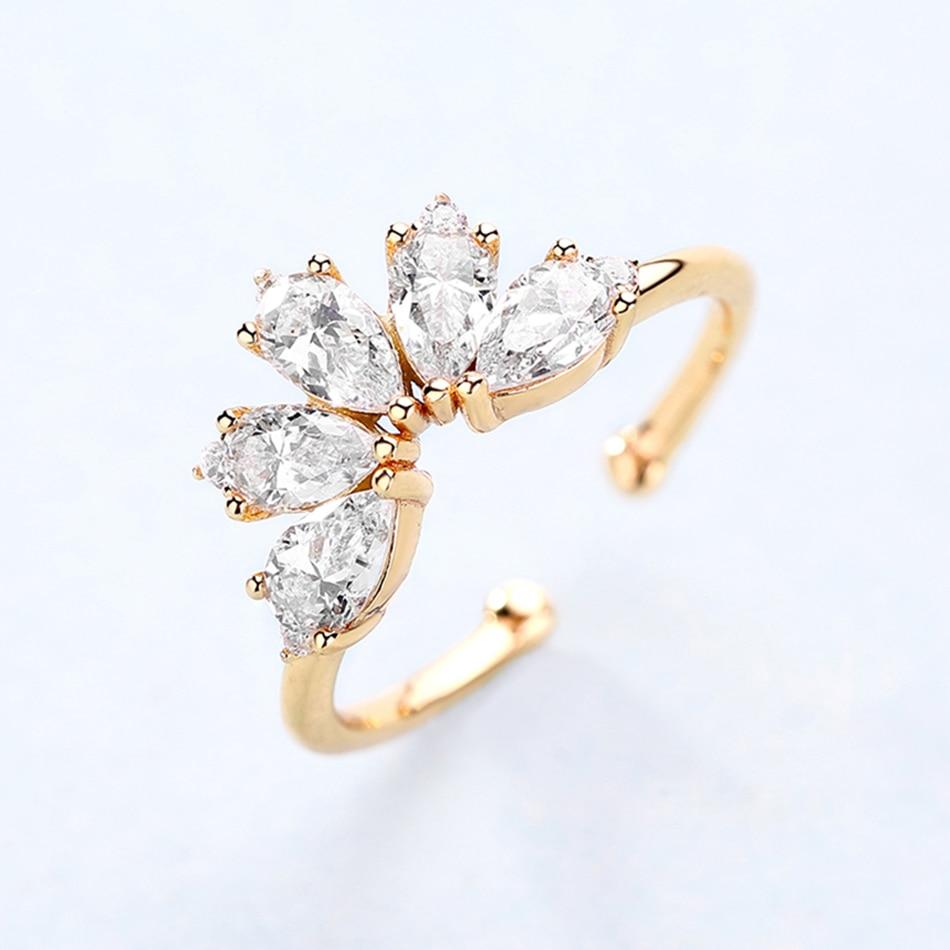 ALLNOEL 9K Gold Plated 5A Zircon Diamond Opal Gemstone 925 Sterling Silver Creative DIY Stackable Rings Bridal Set For Women