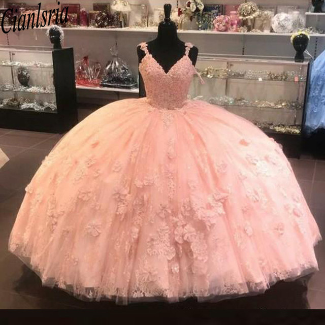 2020 Coral Quinceanera Prom dresses Ball Gown With Spaghetti Straps Applique Lace Sweet 16 Cheap Party Formal Dress Gowns
