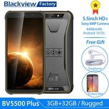 """Blackview BV5500 プラススマートフォンIP68 防水 5.5 """"hd + アンドロイド 10 3 ギガバイト 32 ギガバイトの携帯電話 8.0MPカメラnfc頑丈な 4400mah"""