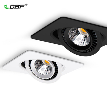 Dimmable 360 Angle Rotatable LED Ceiling Spot Light 5W 7W 10W 12W 15W Square LED Recessed Downlight with AC 85-265V LED Driver