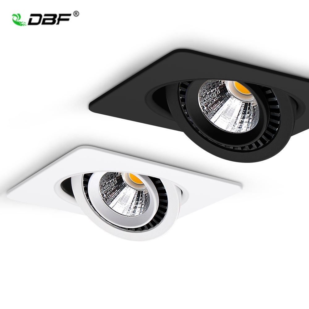 Dimmable 360 Angle Rotatable LED Ceiling Spot Light 5W 7W 10W 12W 15W Square LED Recessed Downlight with AC 85 265V LED Driver Downlights     - title=