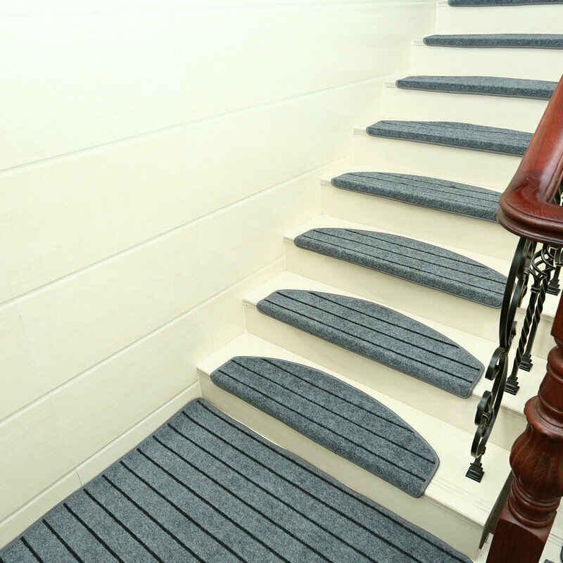 Modern Stripes Stairs Mat Adhesive Carpet Stair Treads Mat Non | Modern Carpet Stair Treads | Beige Carpet | Wood | Basement Stairs | Grey | Modern Trellis